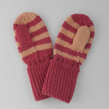 Striped Pink and Peach Toddler Mittens Size 12 to 18 months