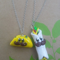 Moustache Taco and Burrito Bestie Necklaces by grimspot on Etsy
