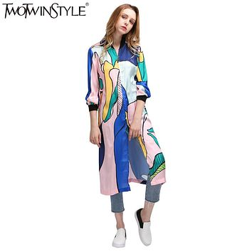 TWOTWINSTYLE Women's Windbreaker Printed Midi Bomber Trench Coat Female Spring Autumn Cardigan Long Sleeve Clothes Large Sizes