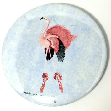 Happy Cartoon Dancing Ballerina Watercolor Flamingo, Adorable Happy Ballet Dancing Bird, Flamingo With Tutu and Ballet Shoes Dancing Happy