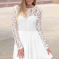 White Floral Embroidered Long Sleeve Mini Skater Dress