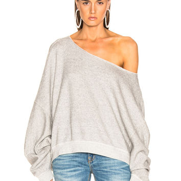 R13 Off Shoulder Patti Sweatshirt in Heather Grey | FWRD