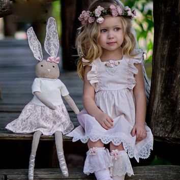 ruched sleeved baby girls princess dress lace cotton kids vestido wedding party children floral dresses for girls costumes