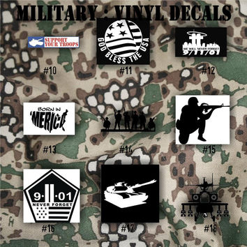 MILITARY vinyl decals - 10-18 - Army, Air Force, Navy and Marines - car decals - window stickers - personalized military decals