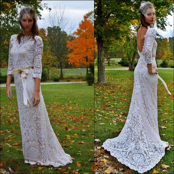 Wedding Dress - Gown - Antique Lace - Champagne - Bateau Neck - Backless - Sleeves - Modern Victorian