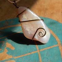 Wire wrapped Pink Opal Necklace