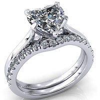 Darci Heart Moissanite 5 Prong Cathedral Solitaire Engagement Ring