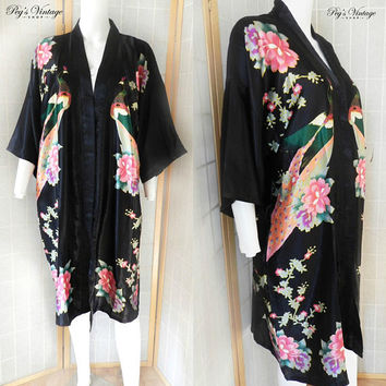 Fabulous Asian Black & Pink Silk Peacock Floral Kimono / Satin Robe, Japan Vintage Clothing