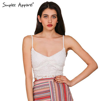 Simplee Apparel Elegant white lace crochet tank tops Women vest spring cropped cami sexy camisole Casual blusa bustier crop top