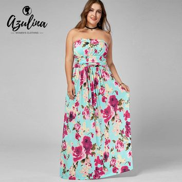 AZULINA Plus Size Strapless Floor Length Floral Dress Women Dresses Summer Casual Boho A-Line Dress Vestidos Big Size Clothing