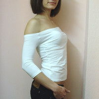 CUSToM MADe Eco Friendly Sexy White Tshirt Strapless Top Off The Shoulder ORDER YoUR SIZE By Cvetinka