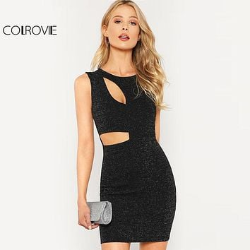 Women's Black Cut Out High Waist Glitter Dress