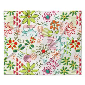"Holly Helgeson ""Wildflower"" White Multicolor Fleece Throw Blanket"