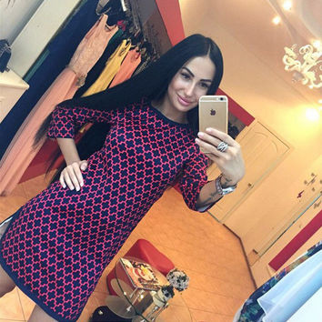 Printed Quarter Sleeves Curved Hem Shift  Dress
