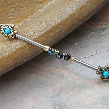 Spear Turquoise Gold Beaded Industrial Barbell