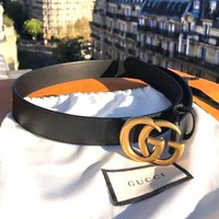 GUCCI Hot Sale Women Men GG Pearl Smooth Buckle Leather Belt
