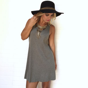 On Track Ribbed Dress In Olive