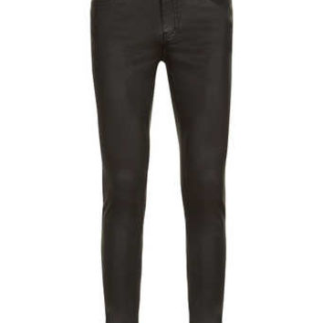 Black Rubber Coated Spray On Skinny Jeans - Men's Jeans - Clothing