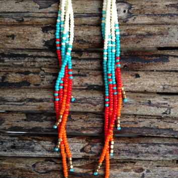 Long Beaded Earrings,  Long Fringe Earrings, Seed Bead Earrings, Bohemian Earrings, Fire Earrings