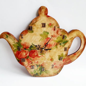 Vintage style retro shabby chic decoupage wooden kitchen wall clock tea pot shaped gift idea for her antiqued