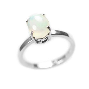 Sterling Silver Genuine Ethiopian Opal Scroll Set Ring