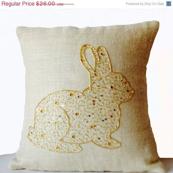 Valentine SALE Burlap Pillow Covers -Rabbit Pillow -Bunny Pillows -Ivory Gold Designer Pillows -16x16 -Gift -Easter -Gold Bunny -Easter Deco