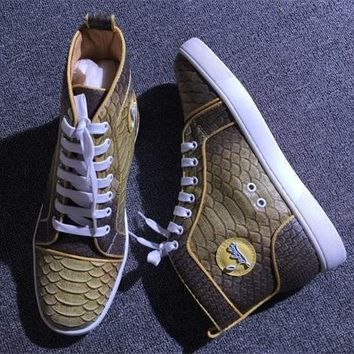 Christian Louboutin CL Python Style #2276 Sneakers Fashion Shoes Best Deal Online