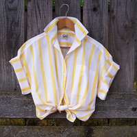Vintage yellow and white stripe boxy fit short sleeve blouse / Rockabilly / cotton shirt / LEE / tie front blouse