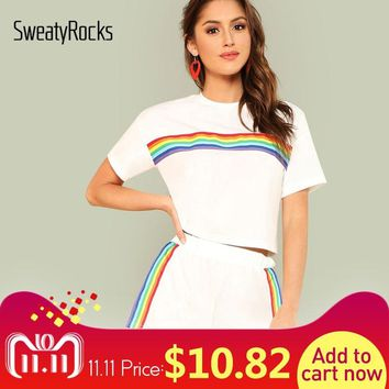 SweatyRocks Rainbow Print Tee & Shorts Two Piece Set Round Neck Short Sleeve Women Outfits Summer Sporting 2 Piece Set