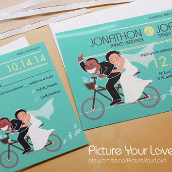 Bicycle Wedding Invitations & RSVP Cards: Illustrated Wedding Invitations, Cartoon Portrait, Whimsical Wedding, Funny Wedding Invites