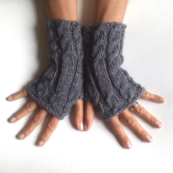 Free ship Alpaca wool gray fingerless gloves cozy gloves cable gloves grey gloves armwarmers