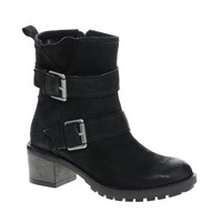 Faith Steep Leather Buckle Ankle Boots
