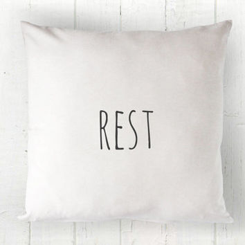 Rest Pillow Cover - Farmhouse Decor, White Pillow, Farmhouse Pillow, Guest Room Pillow, 16 x 16, 18 x 18, 20 x 20