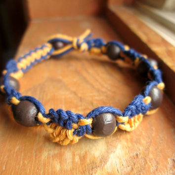 Hemp Jewelry - Blue and Gold - Hemp Bracelet - Macrame Jewelry - Wood Bead Bracelet - Beach Bracelet