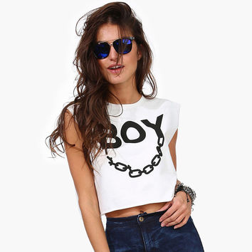 Solid Boy Chain Print Short sleeves Crop Top