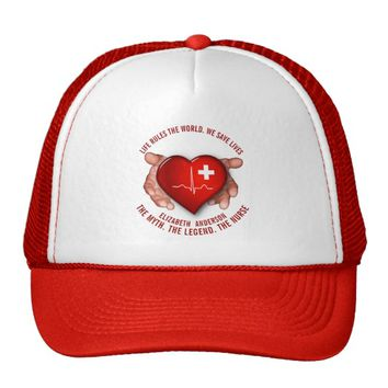 Registered Nurse With Red Heart In Hands Trucker Hat