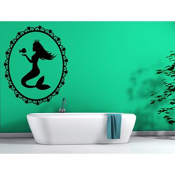Vinyl Decal Silhouette Sea Princess Mermaid Fish Flounder Unique Gift Wall Sticker (n626)