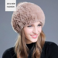 ONETOW Lady's Winter Hat Rabbit Fur Material Beanies Cap Fashion Elegant Style For Women Outdoor Dress Free Shipping Adult YF102702