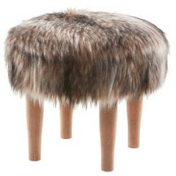 Raccoon Faux Fur Accent Stool - Threshold™ : Target