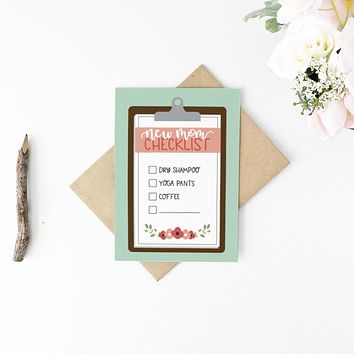 New Mom Checklist Funny Baby Card