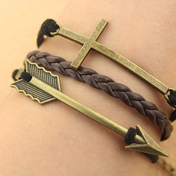 cross bracelet-- arrow bracelet,antique bronze charm bracelet,black braid leather bracelet,MORE COLORS