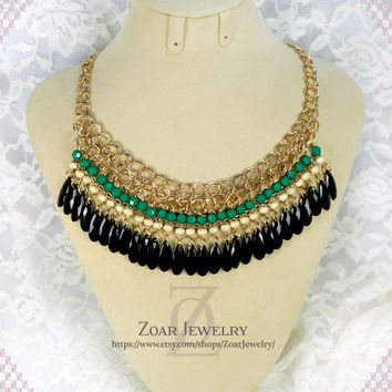 J'crew Style Beaded Fashion Party Necklace,beadwork necklace,kate spade necklace