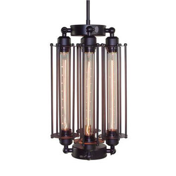 LNC Industrial Wire Cage Metal Pendant Lighting, 4-light with Black Finish