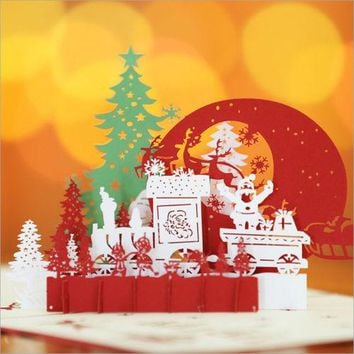3D Greeting Card Pop Up Paper Cut Merry Christmas Handmade Stereoscopic Day Card Greeting Card Christmas
