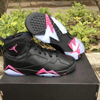 Air Jordan 7 GS Hyper Pink Basketball Shoes Women Newest Released VII 7S Black Pink Girls Sports Sneakers US5.5-8.5