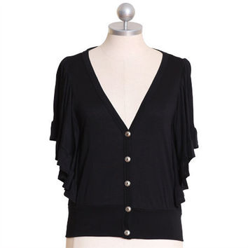 little bo peep ruffle cardi in black - $32.99 : ShopRuche.com, Vintage Inspired Clothing, Affordable Clothes, Eco friendly Fashion