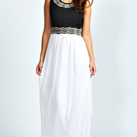 Amy Beaded Waist and Neck Trim Maxi Dress