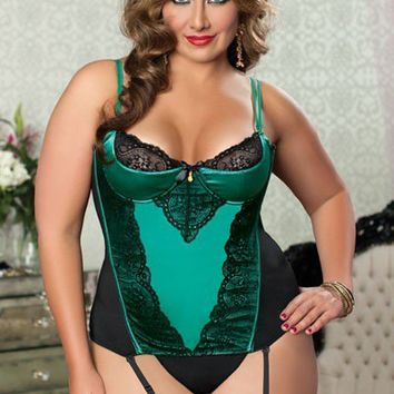 Green Plus Size Shiny Stretch Satin Lace Bustier Intimates Set @ Wowpink Intimates Clothing online store:Lingerie,Corset,Bustier,Women's Intimates,Sexy Intimate,Corset Intimates,intimates underwear,sheer intimates,silk intimates,intimates bras,holiday und