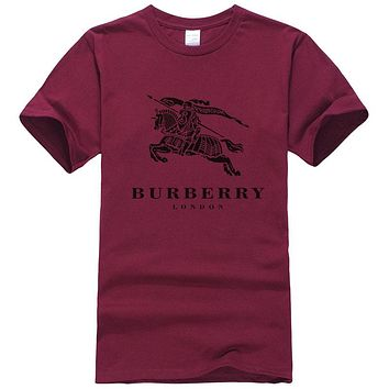 Burberry New fashion letter war horse print couple top t-shirt Burgundy
