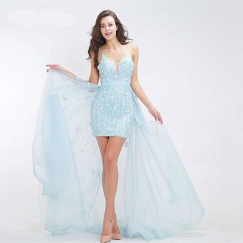 Fashionable Baby-Blue Prom Dresses Luxury Floral Appliques Beading Sexy Short Dress with Cloak Tulle Party Gowns